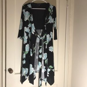 INC long floral cardigan